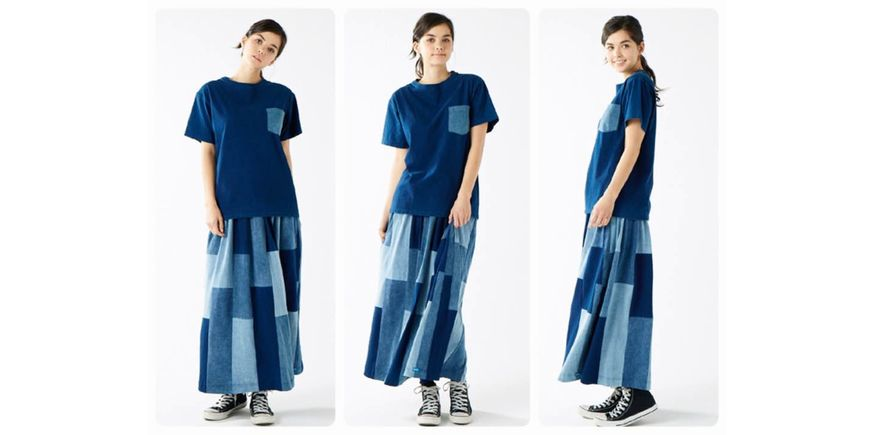 Good On INDIGO PATCH WORK TEE MAXI SKIRT / インディゴパッチワークT-マキシスカート INDIGO ASSORT