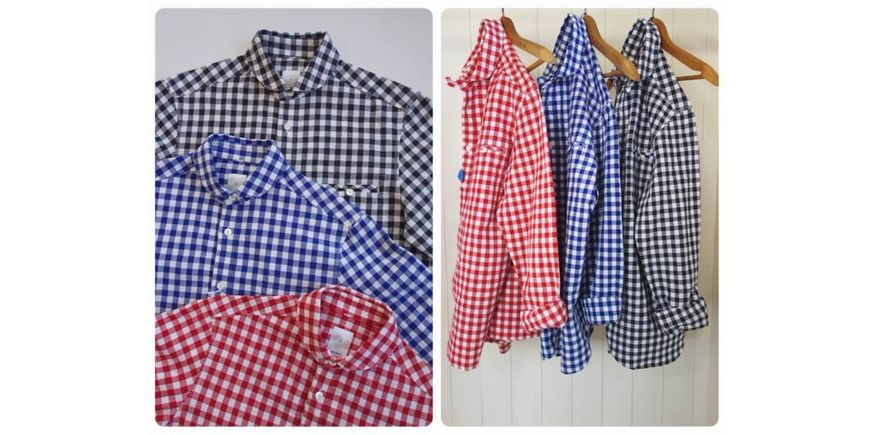 maillot sunset big gingham work shirts (ビッグギンガム・ワーク) BIG RED×WHITE